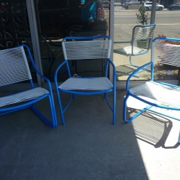 Corded Tamiami, 3 chairs, rocker, spring, dining